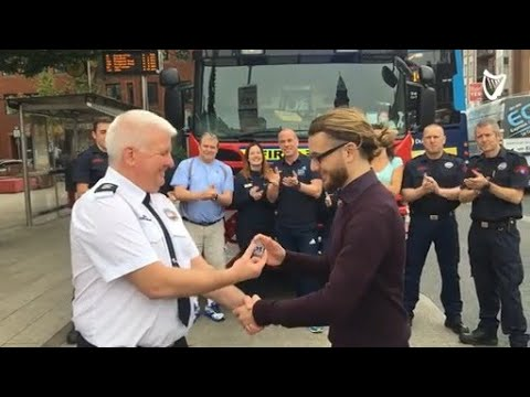 WATCH: Dublin Fire Brigade present a special achievement medal to Conor Wright