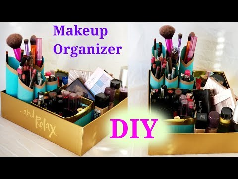 DIY makeup storage and organizer from waste boxes