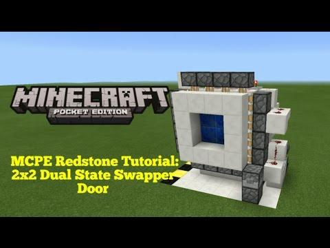 Minecraft Pocket Edition Redstone Tutorial: 2x2 Dual State Swapper Door (MCPE 1.0.5)