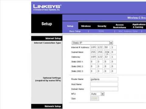 Configurando o Linksys WRT54G ou WRT54G2
