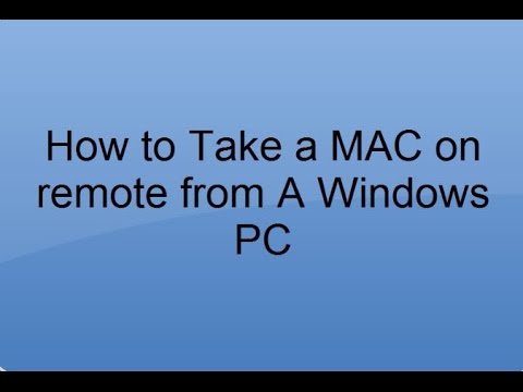 How to take a MAC on remote from a Windows PC