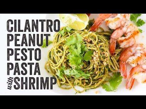 Cilantro Peanut Pesto Pasta with Shrimp Recipe : Season 3, Ep. 11 - Chef Julie Yoon