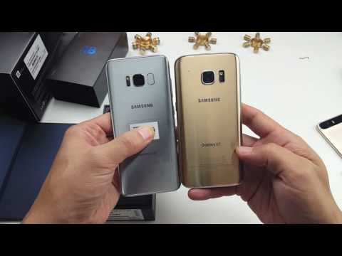 Galaxy S8 Unboxing Next to S7