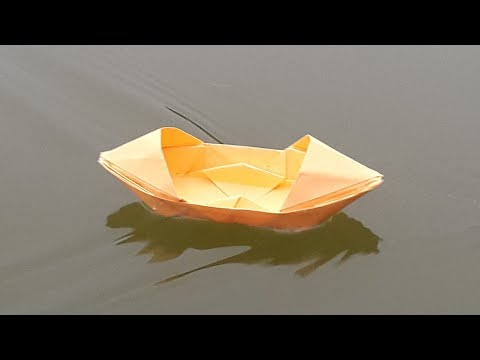 How to make a Paper Boat that floats on Water with Real Demo - Origami Boat