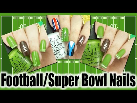 Football Super Bowl Nails - 3 Different Designs!