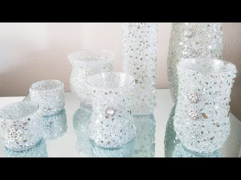 DIY | REVAMPING UPCYCLED BLING VASES USING LARGER PIECES OF CRUSHED GLASS 2018