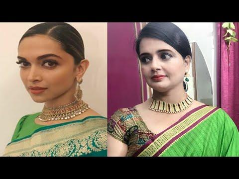 Inspired By Deepika Padukone /Green sari makeup with hair style/Seema jaitly