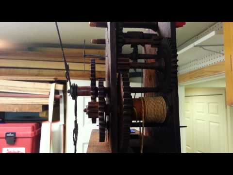 The Seth Thomas wooden movement clock runs for the first time in decades.