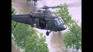 Army Helicopter Rescues Two Men From Flooded Pickup Near Sanger, TX