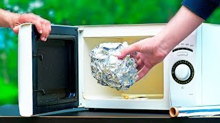 FOIL BALL VS MICROWAVE!  8 AMAZING Experiments
