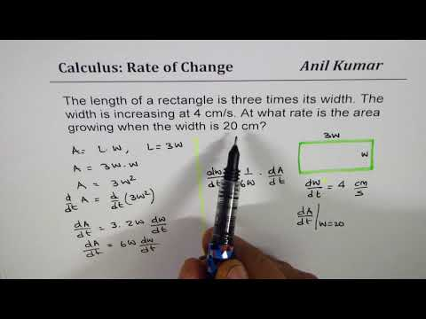 Length of rectangle is 3 times width find rate of change of area