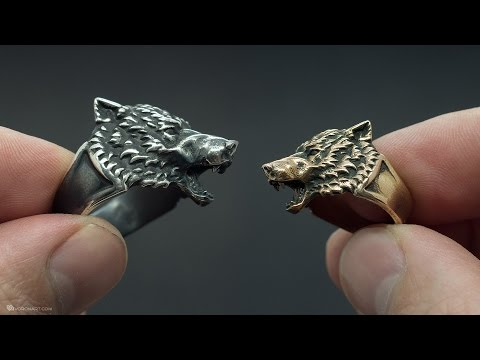Wolf head ring. Silver, brass