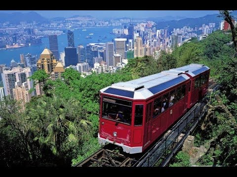 Riding the Peak Tram Hong Kong,