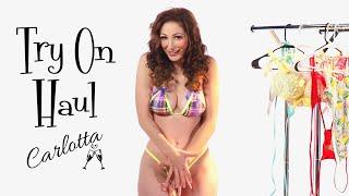 Micro bikini and swimsuit try on haul! Carlotta's  most scandalous!