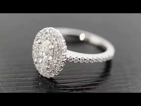 Oval Shape Double Halo Diamond Engagement Ring by Graziella