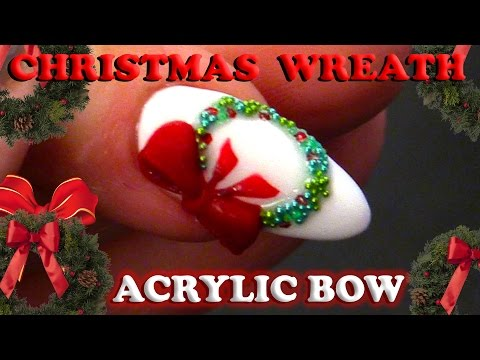 Simple Christmas Nail Design - Christmas Wreath with Bow Tutorial - Step by Step Guide
