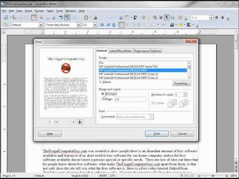 LibreOffice-Writer (7) Print Dialog Box