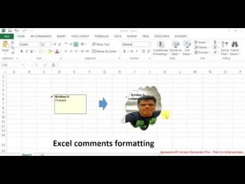 How to format MS Excel cell comments