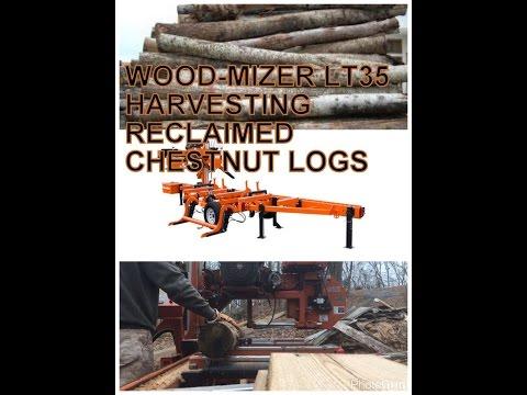Wood-Mizer LT35 Sawmill Harvesting Reclaimed Chestnut Logs