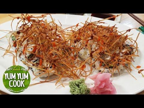 Deep Fried Salmon Skin Sushi Roll | YumYumCook