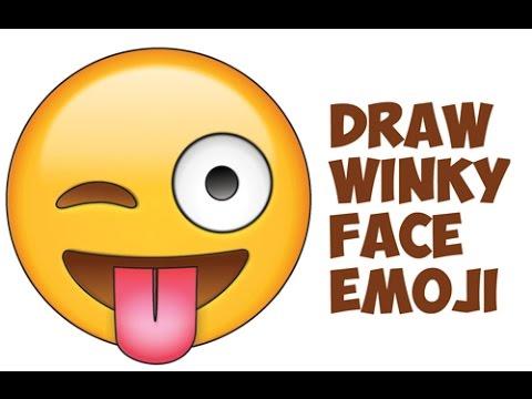 How to Draw Winking Eye Emoji Face / Winky Eye Emoji Face Easy Step by Step Drawing Tutorial