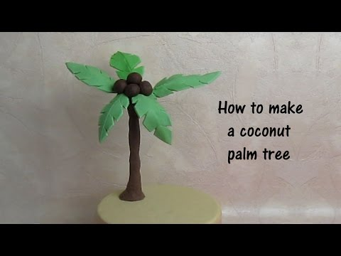 How to make a gumpaste coconut tree for a cake - ENGLISH