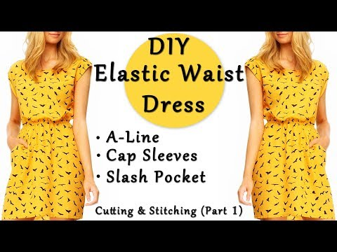 DIY Elastic Waist Dress | A - Line Dress | Cap Sleeves | Slash Pocket Dress