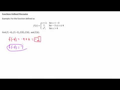 Finding Function Values for Piecewise Functions