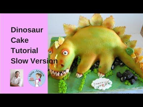 Dinosaur Cake Tutorial (full video) - Cake Decorating Tutorial