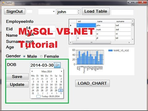 MySQL VB.NET Tutorial 19 :  How to use DateTimePicker and save date in Database