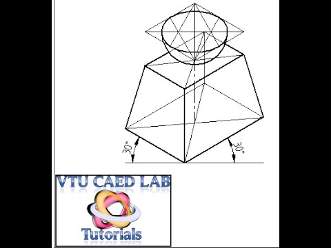 Isometric projection of a frustum of rectangular pyramid and hemisphere.