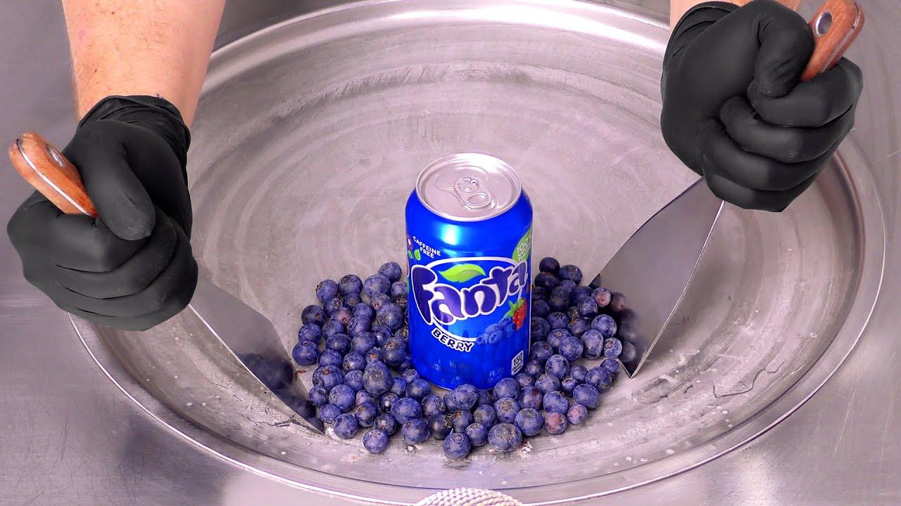 FANTA Blueberry - Ice Cream Rolls   Berry ASMR