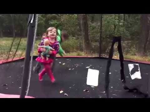 Ty and tiff on the trampoline