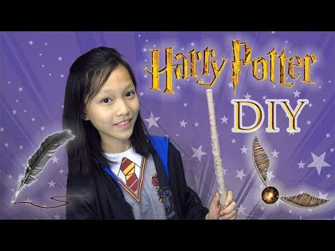 Harry Potter DIY Crafts! Golden Snitch Chocolate, Quill Pen, Hogwarts Letter, Hogwarts Folder!