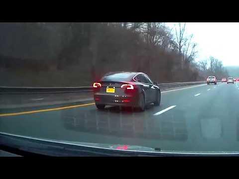 Tesla Model 3 on highway
