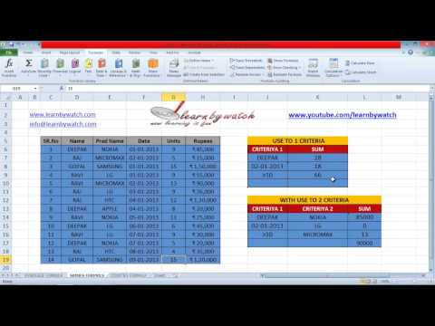 How to use Sumifs formula in Excel by Saurabh Kumar (Hindi / Urdu)