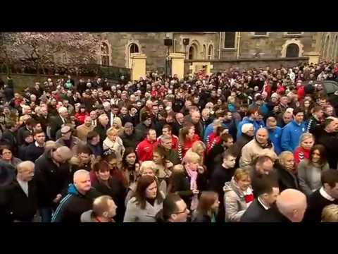 Kenny Shiels recites poem in memory of Ryan McBride
