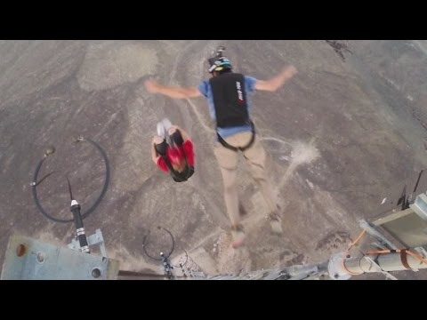 Nine front flips from a 1,000 foot tower