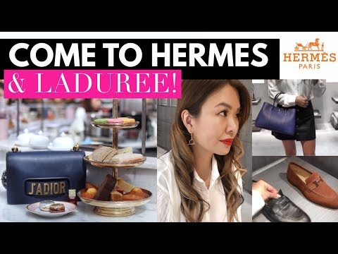 COME TO HERMES & LADUREE WITH ME! SHOPPING & EATING VLOG 🛍🍨
