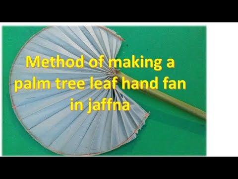 Method of making a palm tree leaf hand fan in jaffna