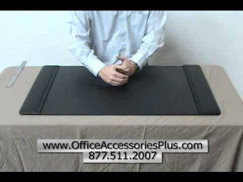 Black Leather 34 x 20 Desk Pad - Office Accessories Plus