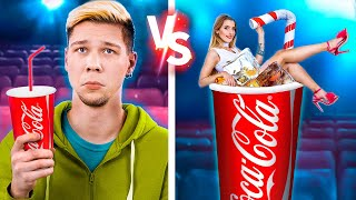 Rich vs Broke Movie Theater! 15 Ways to Sneak Food into the Movies