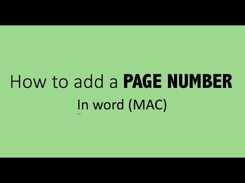 How to add a page number in word (MAC)