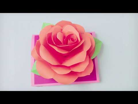 How To Make A Small Rose Flower Card? - Handmade Card Crafts| Valentine's Day Card | DIY