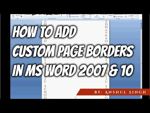 How to add Custom Page Borders in MS Words 2007 & 10