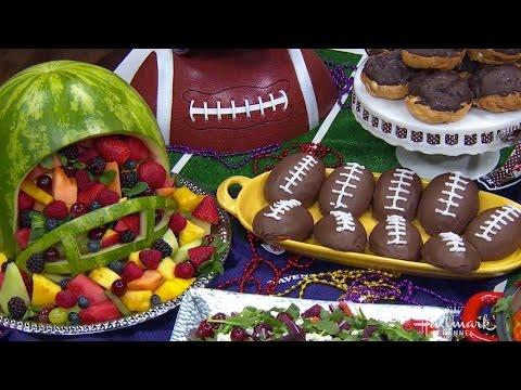 Fruit Salad Served in a Watermelon Football Helmet