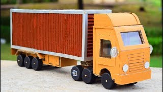 How to make container truck with cardboard | Battery operated container truck |