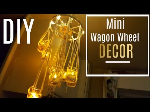 DIY Mini Wagon Wheel Chandelier (Made With Dowels)  EASY TO MAKE