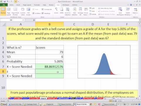 Excel 2010 Statistics 61: Find X Given Normal Probabilities NORM.INV & NORM.S.INV Functions