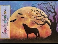 Moon Rising Landscape Night Sky With Wolf Tree Beginner Acrylic Painting Tutorial Live